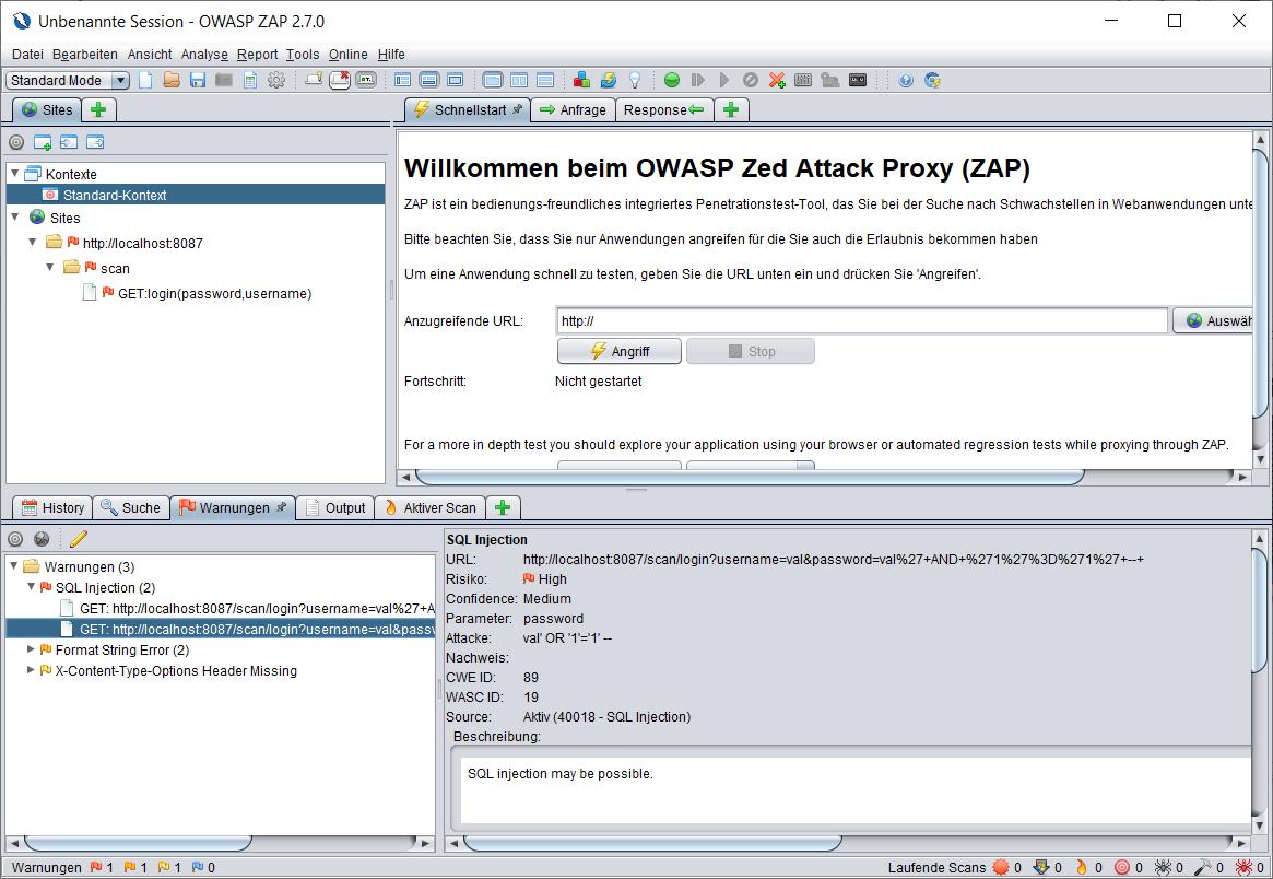 Abbildung 6 OWASP ZAP Ergebnisansicht