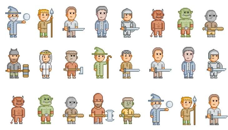 sonar quest - Foto: shutterstock.com Stockillustrationsnummer: 312870995 - Pixel fantasy heroes for 8 bit video game and design - karpenko_ilia