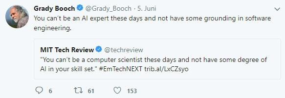 Zitat Grady Booch - Künstliche Intelligenz setzt Software Engineering voraus
