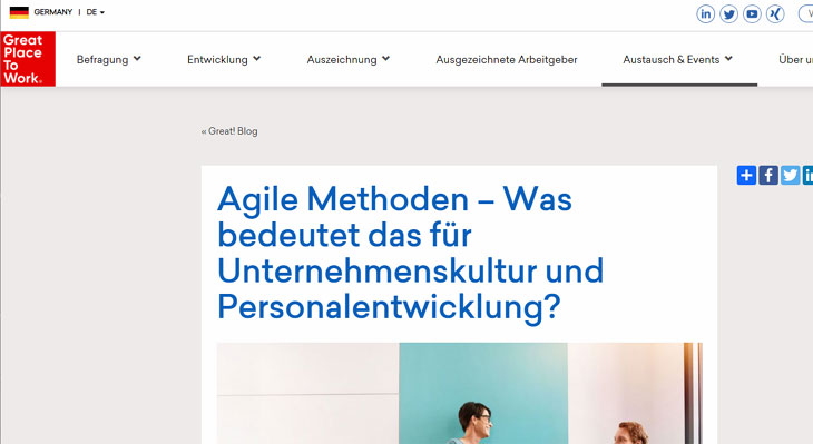 Screenshot Gastbeitrag im Blog des Great Place to Work-Instituts