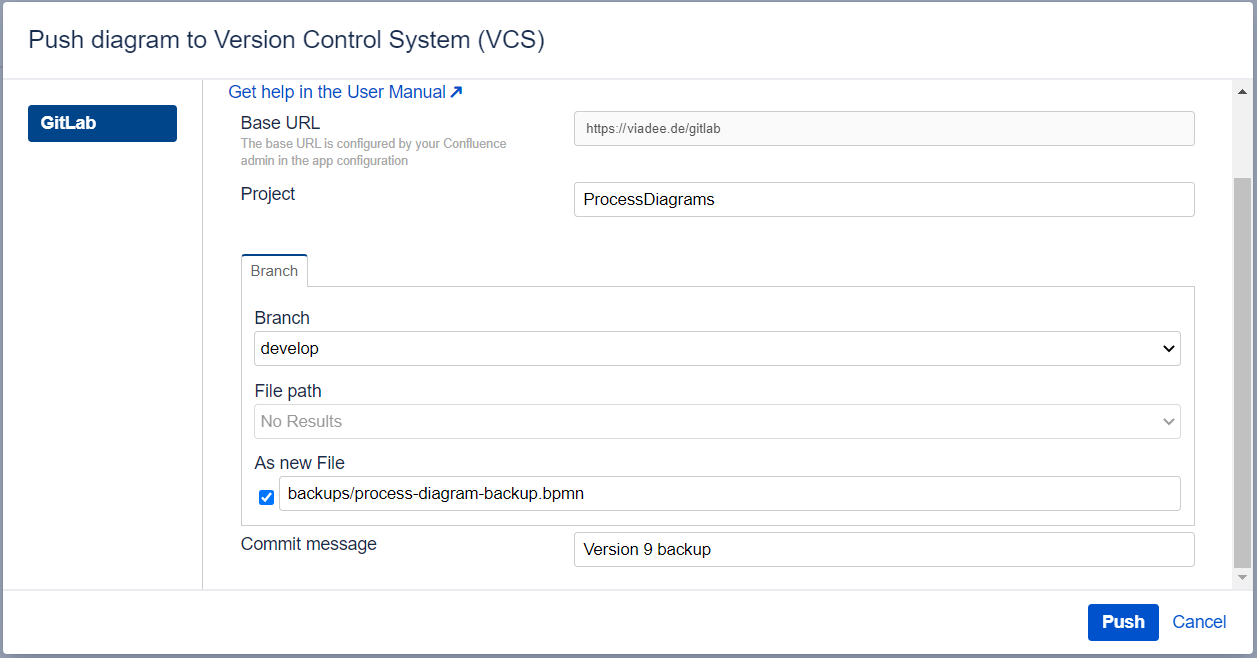 Push diagram to Version Control System