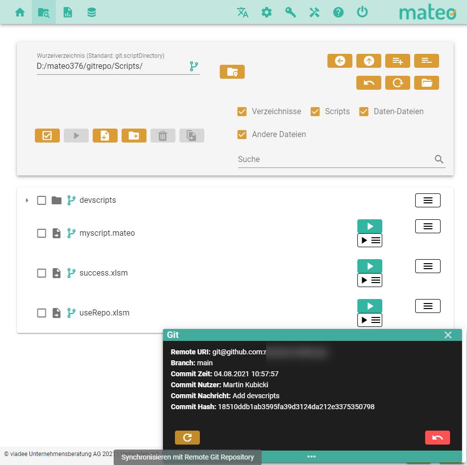 mateo-Weboberfläche im Git-Modus mit geöffnetem mit Git-Panel-Fenster