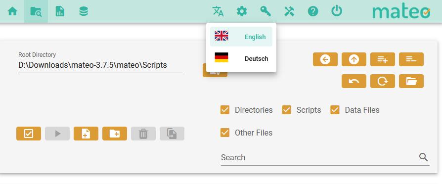 Die englischsprachige Variante der mateo-Weboberfläche mit geöffnetem Sprachauswahlmenü.