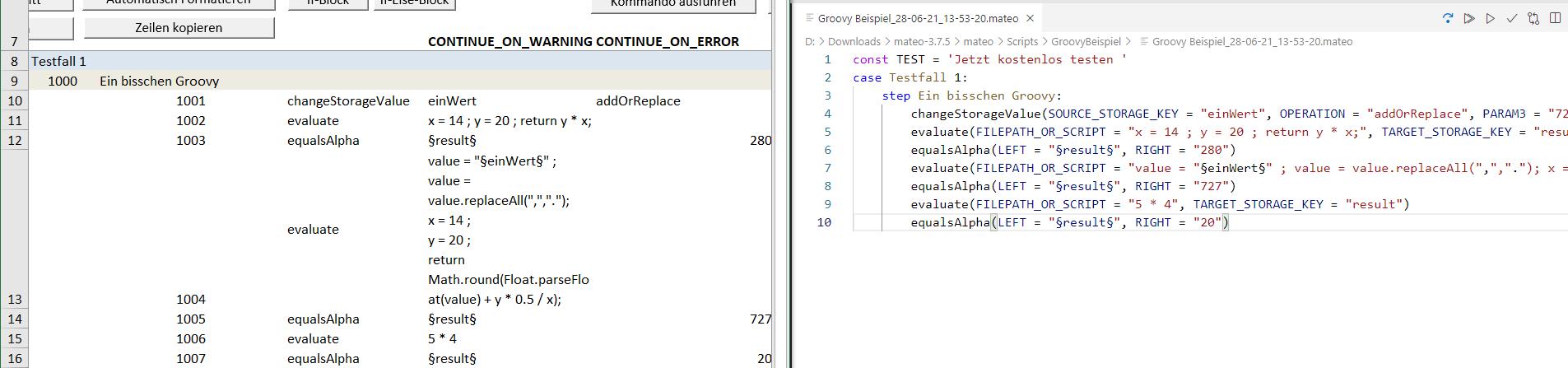 Beispiel eines Scripts im XLSM-Format (links), das mithilfe von mateo automatisch in das mateoScript-Format (rechts) migriert wurde.