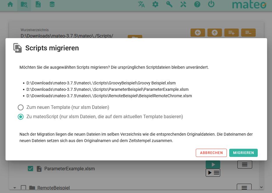 Optionsfenster, in dem eine Migration zuvor ausgewählter XLSM-Script-Dateien zu mateoScript-Dateien angefordert wird